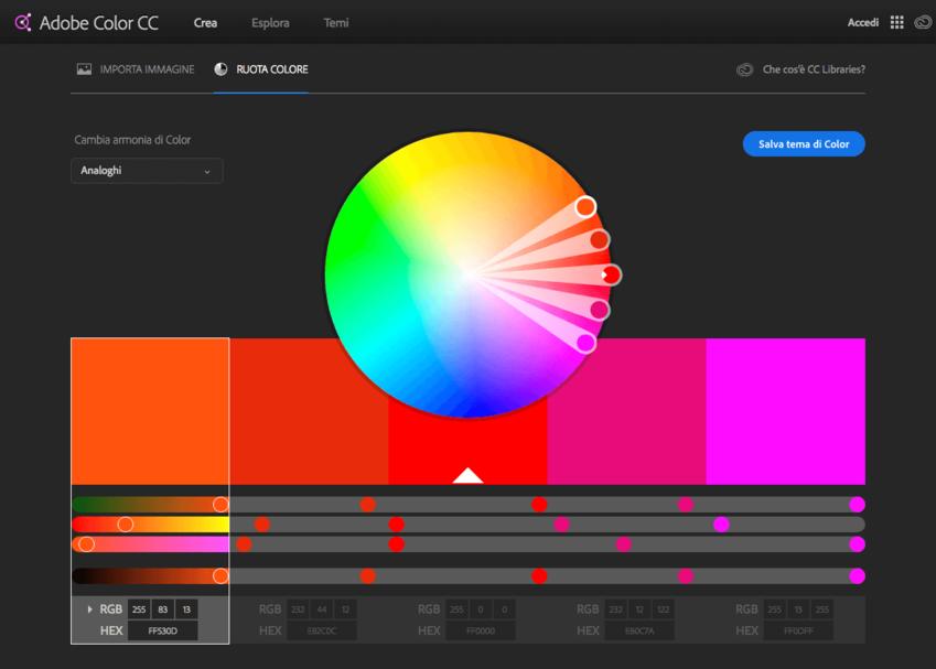 Palette colori per grafici: Adobe Color CC