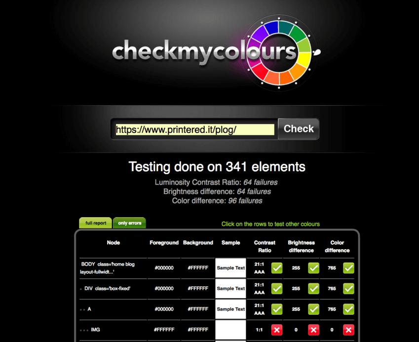 Palette colori per grafici: Check My Colours