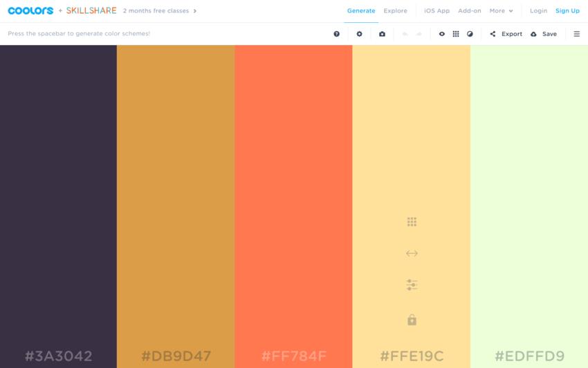 Palette colori per grafici: Coolors