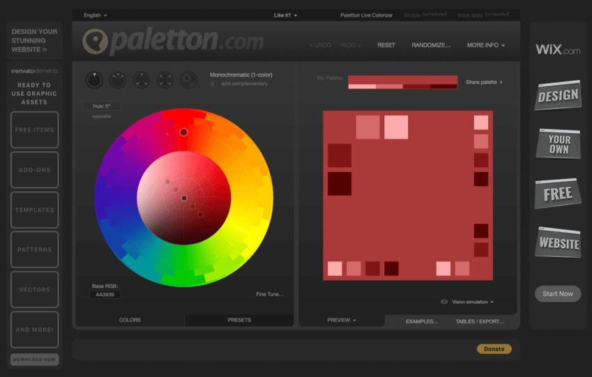 Palette colori per grafici: Paletton